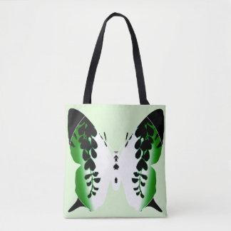 Sac vert de silhouette de glycines de papillon