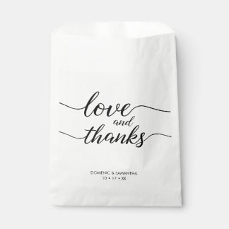 Sachets En Papier Amour et mercis élégants, manuscrit