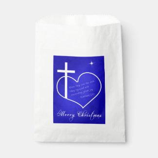 Sachets En Papier Bleu chrétien de Joyeux Noël