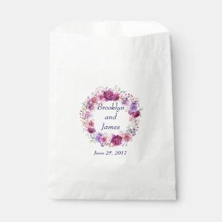 Sachets En Papier Bouquet floral de rose et de Bourgogne