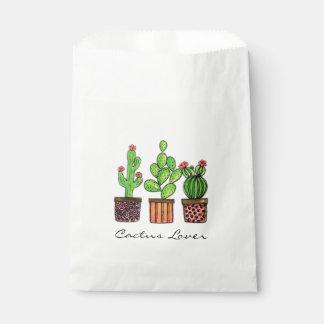 Sachets En Papier Cactus mignon d'aquarelle dans des pots