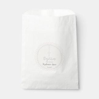 Sachets En Papier Chapelet de baptême sur le rose