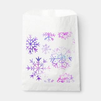 Sachets En Papier Conception pourpre de Noël de flocon de neige