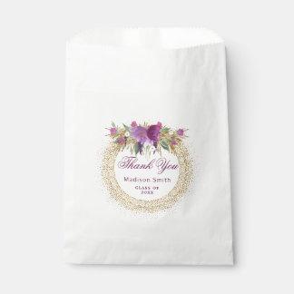 Sachets En Papier Confettis d'or de fleur d'aquarelle de