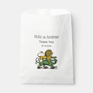 Sachets En Papier Emblème héraldique de crête de lion et de dragon