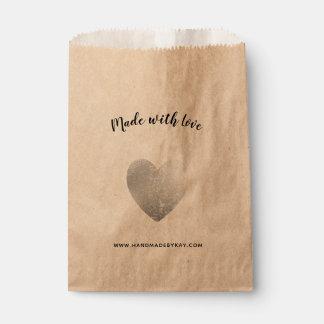 Sachets En Papier Fait avec amour • Coeur d'aluminium argenté fait