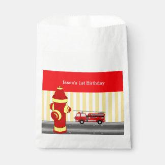 Sachets En Papier Fête d'anniversaire de camion de pompiers