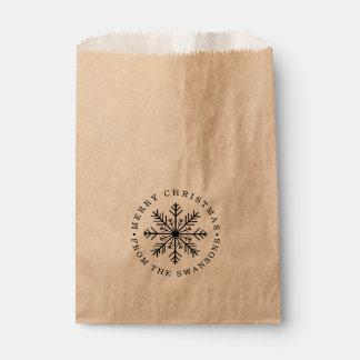 Sachets En Papier Flocon de neige personnalisé de Joyeux Noël