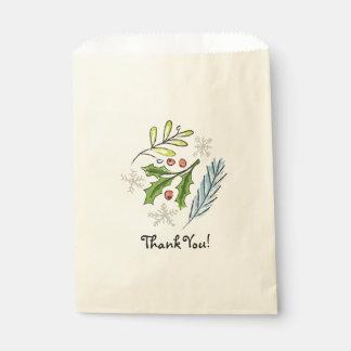 Sachets En Papier Houx de sac de Merci de faveur de festin de