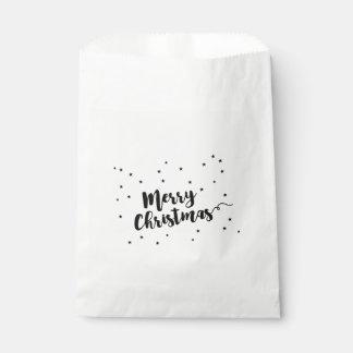 Sachets En Papier Joyeux Noël - typographie et étoiles de manuscrit