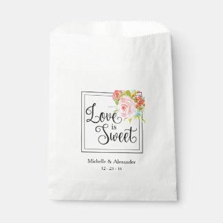 Sachets En Papier L'amour est doux - sac de faveur de mariage,