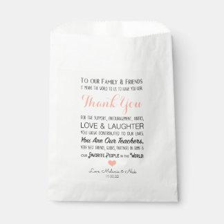 Sachets En Papier Le message de Merci de faveur de mariage