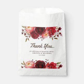 Sachets En Papier Mariage floral de roses rouges de Bourgogne