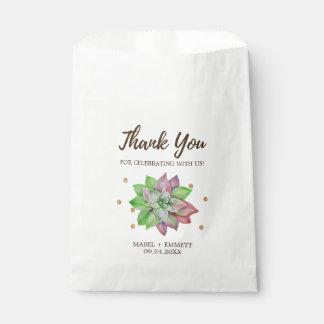 Sachets En Papier Mariage succulent floral rose de Boho et en bon