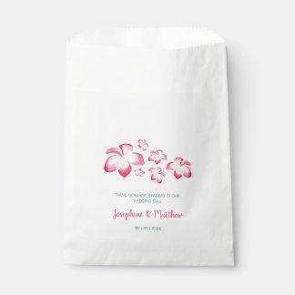Sachets En Papier Mariage tropical d'aquarelle de rose de Plumeria