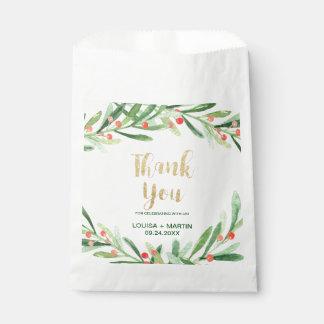 Sachets En Papier Merci de guirlande de houx de Noël