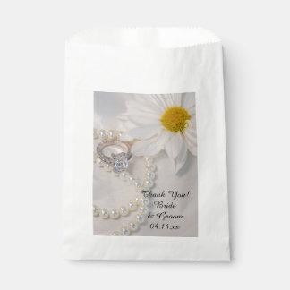 Sachets En Papier Merci élégant de mariage de marguerite blanche