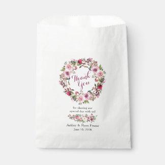 Sachets En Papier Merci floral de mariage de rose chic rose pourpre