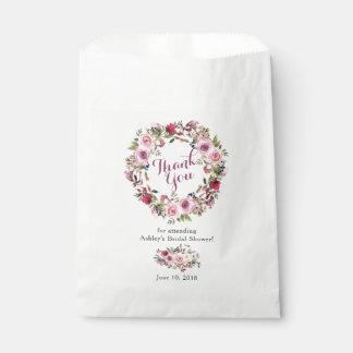 Sachets En Papier Merci nuptiale de douche de rose chic rose pourpre