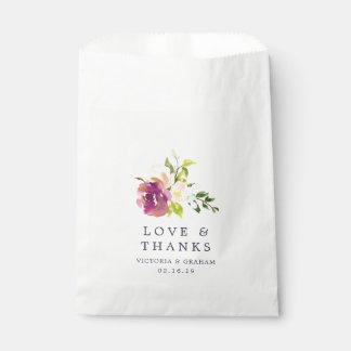 Sachets En Papier Merci vibrant de mariage de fleur