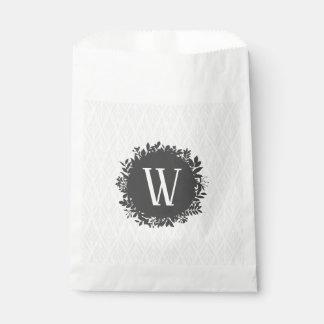 Sachets En Papier Monogramme feuillu gris-clair et blanc de motif