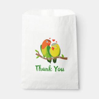Sachets En Papier Noce verte et jaune de Merci de perruches