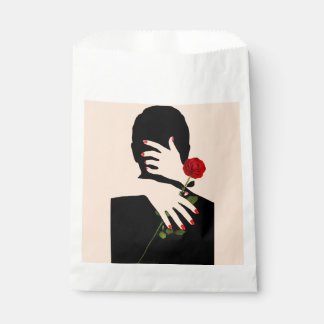 Sachets En Papier Pêche d'art déco et mariage noir