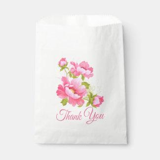 Sachets En Papier Pivoines roses florales de Merci de mariage de