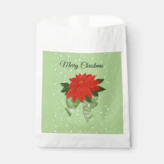 """Sachets En Papier Poinsettia rouge avec Joyeux Noël d'arc vert le """""""