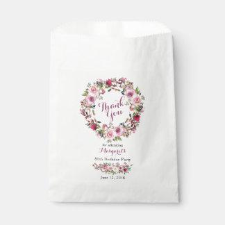Sachets En Papier Quatre-vingtième Merci d'anniversaire de rose de