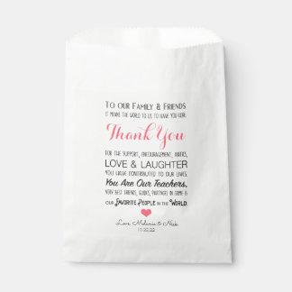 Sachets En Papier Rose 3605 de message de Merci de festin de faveur