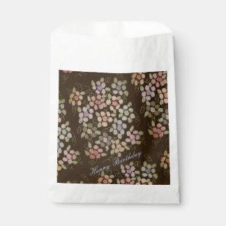 Sachets En Papier Sac brun chocolat de papier fleuri de biscuit