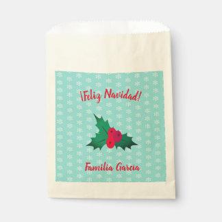 """Sachets En Papier Sac de cadeau de """"Feliz Navidad"""" avec le feuille"""