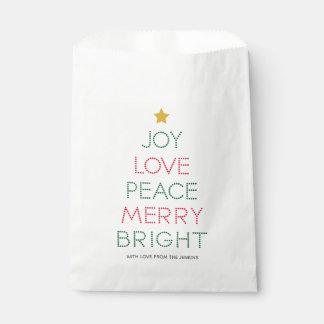 Sachets En Papier Sac de faveur de Noël de typographie d'arbre de