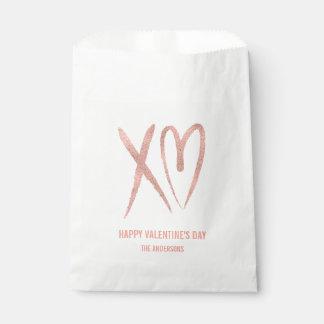 Sachets En Papier Sac rose balayé moderne de faveur de Valentine