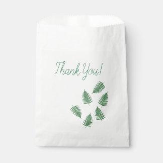 Sachets En Papier Sac vert de faveur de motif de fougère de Merci