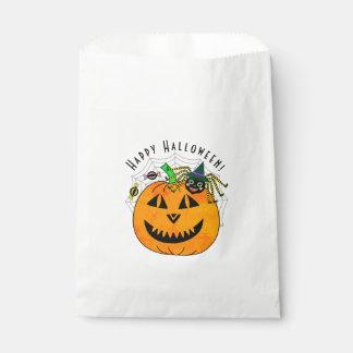 Sachets En Papier Sorcière et citrouille d'araignée de Halloween