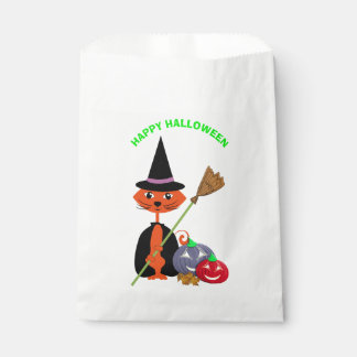 Sachets En Papier Sorcière mignonne heureuse de chat de Halloween