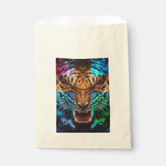 Sachets En Papier Tigre croisé - tigre fâché - visage de tigre - le