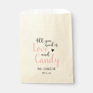 Sachets En Papier Tout que vous avez besoin est amour et la sucrerie