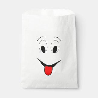 Sachets En Papier Visage drôle - noir et rouge