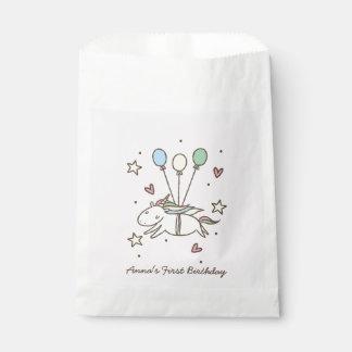 Sachets En Papier Vol mignon de licorne sur l'anniversaire de