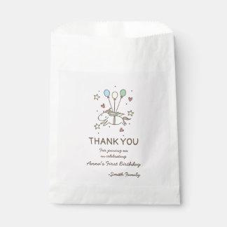 Sachets En Papier Vol mignon de licorne sur le Merci d'anniversaire