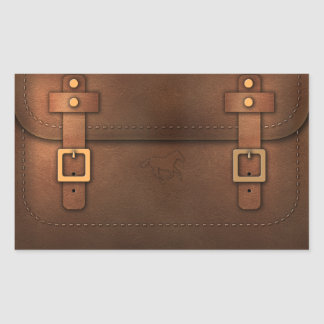 sacoche cuir Pony Express Sticker Rectangulaire