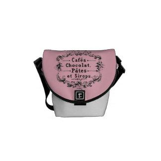 Sacoche Mini sac messenger à étiquette français vintage de