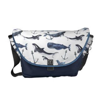 Sacoche Motif de baleine et d'ancre d'aquarelle