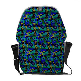 Sacoche Sac messenger géométrique à vert bleu de motif