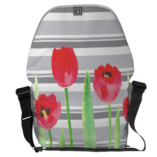 Sacoche Watercolor tulips with stripes backbag
