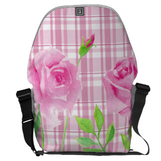 Sacoches Watercolor roses with plaid backbag Rickshaw
