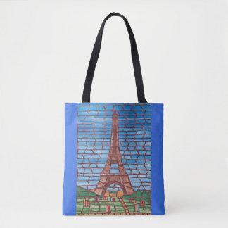 Sacs fourre-tout à Tour Eiffel de peinture de